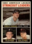 1964 Topps #6   -  Camilo Pascual / Jim Bunning / Dick Stigman AL Strikeout Leaders Front Thumbnail
