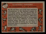 1958 Topps #321   -  Ted Williams / Ted Kluszewski Sluggers Supreme   Back Thumbnail