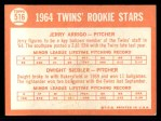 1964 Topps #516   -  Jerry Arrigo / Dwight Siebler Twins Rookies Back Thumbnail