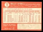 1964 Topps #18  Billy O'Dell  Back Thumbnail