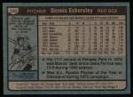 1980 Topps #320  Dennis Eckersley  Back Thumbnail