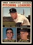 1964 Topps #4 xAP  -  Whitey Ford / Camilo Pascual / Jim Bouton AL Pitching Leaders Front Thumbnail