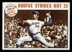 1964 Topps #136   -  Sandy Koufax 1963 World Series - Game #1 - Koufax Strikes Out 15  Front Thumbnail