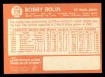 1964 Topps #374 ^COR^ Bob Bobby Bolin  Back Thumbnail