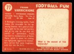 1958 Topps #77  Frank Varrichione  Back Thumbnail