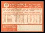 1964 Topps #117  Earl Francis  Back Thumbnail