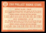 1964 Topps #243   -  Rich Allen / John Herrnstein Phillies Rookies Back Thumbnail