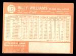1964 Topps #175  Billy Williams  Back Thumbnail