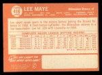 1964 Topps #416  Lee Maye  Back Thumbnail
