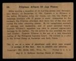 1941 Gum Inc. War Gum #20   Filipinos Attack 54 Japanese Planes Back Thumbnail