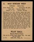 1941 Play Ball #2  Max West  Back Thumbnail
