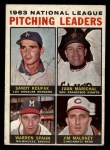 1964 Topps #3   -  Sandy Koufax / Juan Marichal / Warren Spahn / Jim Maloney NL Pitching Leaders Front Thumbnail
