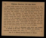 1941 Gum Inc. War Gum #14   Filipinos Destroy 154 Japanese Boats Back Thumbnail