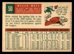 1959 Topps #50  Willie Mays  Back Thumbnail