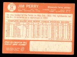 1964 Topps #34  Jim Perry  Back Thumbnail
