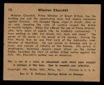 1941 Gum Inc. War Gum #15   Winston Churchill Back Thumbnail