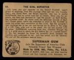 1940 Gum Inc. Superman #53   The Girl Reporter Back Thumbnail