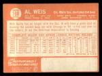 1964 Topps #168  Al Weis  Back Thumbnail
