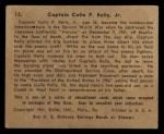 1941 Gum Inc. War Gum #13   Captain Colin P. Kelly Jr. Back Thumbnail