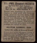 1949 Leaf #11  Phil Rizzuto  Back Thumbnail