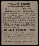 1948 Leaf #117  Joe Gordon  Back Thumbnail