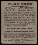 1948 Leaf #42 BLK Kent Peterson  Back Thumbnail