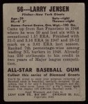 1949 Leaf #56  Larry Jensen  Back Thumbnail