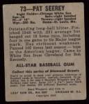 1949 Leaf #73  Pat Seerey  Back Thumbnail