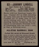 1949 Leaf #82  Johnny Lindell  Back Thumbnail