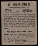 1949 Leaf #86  Ralph Weigel  Back Thumbnail