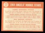 1964 Topps #127   -  Dick Simpson / Aubrey Gatewood Angels Rookies Back Thumbnail