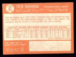 1964 Topps #62  Ted Savage  Back Thumbnail