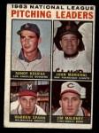 1964 Topps #3   -  Sandy Koufax / Juan Marichal / Warren Spahn / Jim Maloney NL Pitching Leaders Front Thumbnail
