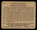 1941 Gum Inc. Uncle Sam Home Defense #58   Submarine Torpedo Practice Back Thumbnail