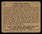 1941 Gum Inc. Uncle Sam Home Defense #60   Abandon Submarine Drill Back Thumbnail