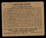 1941 Gum Inc. Uncle Sam Home Defense #76   Crew Of Pygmy Scout Car Back Thumbnail