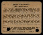 1941 Gum Inc. Uncle Sam Home Defense #10   The Armored Force Back Thumbnail
