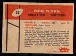 1960 Fleer #32  Don Flynn  Back Thumbnail