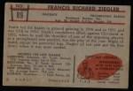 1953 Bowman #89  Frank Ziegler  Back Thumbnail