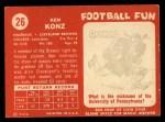 1958 Topps #26  Ken Konz  Back Thumbnail