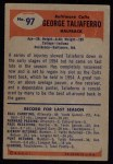 1955 Bowman #97  George Taliaferro  Back Thumbnail