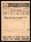 1959 Topps #60  Lou Groza  Back Thumbnail