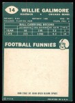 1960 Topps #14  Willie Galimore  Back Thumbnail