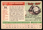 1955 Topps #74  Bob Borkowski  Back Thumbnail