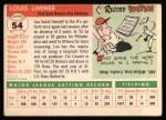 1955 Topps #54  Lou Limmer  Back Thumbnail