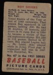 1951 Bowman #67  Roy Sievers  Back Thumbnail