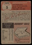1953 Topps #5  Joe Dobson  Back Thumbnail