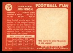 1958 Topps #75  John Henry Johnson  Back Thumbnail