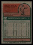 1975 Topps Mini #170  Bert Campaneris  Back Thumbnail