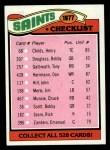 1977 Topps #217   Saints Team Checklist Front Thumbnail
